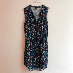 Gap Blue Floral Printed Dress Size Small